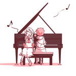2girls alternate_hair_length alternate_hairstyle arms_behind_back ascot bat_wings blush_stickers closed_eyes facing_viewer from_behind instrument kameyan komeiji_satori long_hair multiple_girls musical_note piano piano_bench pink_hair remilia_scarlet short_hair simple_background singing skirt skirt_set slippers touhou white_background white_hair wings