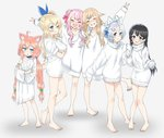 6+girls ahoge animal_ears arm_over_shoulder arm_up barefoot black_hair blonde_hair blue_eyes blush cat_ears choker closed_eyes commentary_request crossed_arms crossover dennou_shoujo_youtuber_shiro fake_animal_ears full_body gengorou grin hair_bobbles hair_bun hair_flaps hair_ornament hairband hairclip himehina_channel hinata_channel long_hair low_twintails mirai_akari mirai_akari_project multiple_crossover multiple_girls nekomiya_hinata nijisanji no_pants off_shoulder one_eye_closed pink_hair shiro_(dennou_shoujo_youtuber_shiro) shirt short_hair side_bun side_ponytail silver_hair simple_background sleeves_past_wrists smile standing standing_on_one_leg suzuki_hina sweater t-shirt tanaka_hime toes tsukino_mito turtleneck turtleneck_sweater twintails v virtual_youtuber white_background white_shirt white_sweater