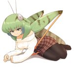1girl antennae bangs bare_shoulders breasts bug casual commentary evolvingmonkey eyebrows_visible_through_hair fingernails full_body grasshopper grasshopper_inoue green_hair grey_eyes highres insect insect_girl legs_together light_smile long_sleeves looking_at_viewer lying medium_breasts medium_hair multicolored_hair no_shoes on_side original pantyhose plaid plaid_skirt ribbed_sweater simple_background skirt sleeves_past_wrists solo sweater two-tone_hair white_background