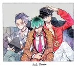 3boys amayado_rei book chain chest choker couch crossed_legs facial_hair gold_chain green_hair hat houndstooth hypnosis_mic looking_at_viewer male_focus multiple_boys necktie nurude_sasara red_shirt shirt sitting stubble traditional_media tsutsujimori_roshou watercolor_(medium)