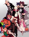 4boys 5girls amagi_yukiko angel_wings animal_ears black_hair blonde_hair blue_hair brown_hair candy cat_ears cat_tail demon_tail devil_horns doujima_nanako everyone fake_halo frankenstein's_monster frankenstein's_monster_(cosplay) grey_hair halloween halloween_costume halo hanamura_yousuke hat jack-o'-lantern kujikawa_rise kuma_(persona_4) lollipop long_hair multiple_boys multiple_girls narukami_yuu persona persona_4 persona_4_the_golden pumpkin ribbon saeuchobab satonaka_chie shirogane_naoto short_hair smile stitches tail tatsumi_kanji thighhighs trick_or_treat vampire vampire_costume wings witch_hat wolf_ears wolf_tail