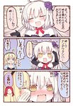 !!? 1boy 2girls 3koma @_@ arms_up bare_shoulders black_gloves blonde_hair blue_eyes blush cheek_kiss chibi chibi_inset closed_eyes collarbone comic dress elbow_gloves eyebrows_visible_through_hair facing_another fate/grand_order fate_(series) gloves hairband hands_on_own_head jeanne_d'arc_(alter)_(fate) jeanne_d'arc_(fate) jeanne_d'arc_(fate)_(all) jeanne_d'arc_(swimsuit_archer) kiss long_hair looking_at_another matsushita_yuu multiple_girls off-shoulder_dress off_shoulder open_mouth pale_skin purple_dress red_ribbon ribbon smile speech_bubble translated tristan_(fate/grand_order) white_hair yellow_eyes yuri