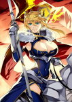 1girl ahoge armor artoria_pendragon_(all) artoria_pendragon_(lancer) bangs blonde_hair braid breasts cape cleavage colored_eyelashes covered_navel crown fate/grand_order fate_(series) flag fur_trim gauntlets green_eyes hair_between_eyes holding_flag horseback_riding ishida_akira large_breasts long_hair looking_at_viewer official_art outdoors riding smile solo sunset tied_hair