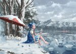 1girl barefoot blue_eyes blue_hair blush blush_stickers bow bunny cirno cloud commentary dress forest frog frown frozen frozen_frog hair_bow ice ice_wings lake lily_pad looking_at_viewer looking_to_the_side magic mansion mountain nagi_(xx001122) nature neck_ribbon parasol ribbon scarlet_devil_mansion scenery short_hair sitting sky snow solo the_embodiment_of_scarlet_devil touhou tree umbrella water wings winter
