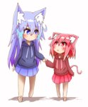 2girls :o absurdres aka_neko_(idaten93) animal_ears bangs barefoot blue_eyes blue_hoodie blue_skirt blush brown_hoodie cat_ears cat_girl cat_tail closed_mouth comic commentary_request eye_contact eyebrows_visible_through_hair fang fox_ears gradient_hair hair_between_eyes hair_ornament highres holding_hands hood hood_down hoodie idaten93 long_sleeves looking_at_another looking_to_the_side multicolored_hair multiple_girls orange_hair original parted_lips pink_hair pleated_skirt purple_hair red_eyes red_skirt sidelocks skirt sleeves_past_wrists smile tail till_(idaten93) walking white_background x_hair_ornament