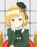 1girl bangs beret black_headwear black_ribbon blonde_hair commentary_request dress eyebrows_behind_hair fate_(series) green_dress grin hair_ribbon hand_on_own_face hand_up hat long_sleeves looking_at_viewer lord_el-melloi_ii_case_files mini_hat nenosame reines_el-melloi_archisorte ribbon short_hair smile solo tilted_headwear upper_body younger