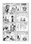4koma braid choborau_nyopomi comic hat highres hong_meiling izayoi_sakuya koakuma konpaku_youmu konpaku_youmu_(ghost) monochrome pacifier patchouli_knowledge remilia_scarlet saigyouji_yuyuko simple_background touhou translation_request twin_braids