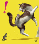! 2016 animal artist_name cat commentary dated fangs jumping matataku mouse no_humans original signature surprised surprised_cat_(matataku) yellow_background