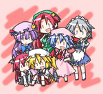 6+girls :d :o apron arms_behind_back ascot bat_wings blonde_hair bloomers blue_eyes blue_hair blue_ribbon bow braid chibi china_dress chinese_clothes colorful crescent dress dress_shirt fang flandre_scarlet frills game_boy_advance grey_hair handheld_game_console hands_on_hips happy hat hat_bow head_wings hemogurobin_a1c hong_meiling izayoi_sakuya kneeling koakuma long_hair long_sleeves low_wings maid maid_headdress multiple_girls necktie no_nose open_mouth patchouli_knowledge pink_dress playing_games pointing pointy_ears purple_dress purple_eyes purple_hair red_eyes red_hair red_ribbon remilia_scarlet ribbon shirt short_hair short_sleeves side_ponytail simple_background sitting skirt skirt_set smile star touhou twin_braids underwear v_arms very_long_hair vest video_game waist_apron wings |_|