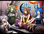 blue_hair breasts cape cleavage commentary_request cpr defibrillator earrings english grey_hair hair_ornament hair_stick hands_on_another's_chest hat headphones japanese_clothes jar jewelry kaku_seiga kariginu lantern miyako_yoshika mononobe_no_futo ofuda pillow pointy_ears pot purple_hair ryuuichi_(f_dragon) soga_no_tojiko stethoscope tate_eboshi touhou toyosatomimi_no_miko wide_sleeves window you're_doing_it_wrong