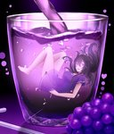 1girl bangs bare_legs barefoot beifeng_han character_name cup dress drink drinking_glass drinking_straw floating_hair food fruit glint grapes heart in_container in_cup knees_up long_hair looking_at_viewer minigirl miyaura_sanshio open_mouth original pouring purple purple_eyes short_dress short_sleeves smile solo underwater