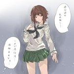 1girl 1koma alternate_costume arutoria_(187497382) bangs black_neckwear blouse brown_eyes brown_hair closed_mouth comic commentary frown girls_und_panzer green_skirt grey_background hand_on_own_chest highres light_particles long_sleeves looking_at_viewer miniskirt neckerchief nishizumi_maho ooarai_school_uniform pleated_skirt school_uniform serafuku short_hair skirt solo standing translated white_blouse