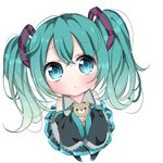 1girl aqua_eyes aqua_hair bare_shoulders black_skirt black_sleeves blush chibi commentary detached_sleeves expressionless frilled_shirt frilled_shirt_collar frills from_above full_body gradient_hair grey_shirt hair_ornament hatsune_miku highres holding holding_stuffed_animal long_hair looking_at_viewer multicolored_hair shirt shoulder_blush skirt sleeveless sleeveless_shirt solo stuffed_animal stuffed_toy teddy_bear thighhighs twintails vocaloid wakarin_(akaririnngo) white_background