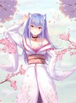 1girl absurdres animal_ear_fluff animal_ears arm_up bad_id bad_pixiv_id bangs bare_shoulders blue_hair blunt_bangs blush breasts cat_ears cat_girl cherry_blossoms cleavage closed_mouth collarbone commentary_request cowboy_shot dahe_zhuang_(yishi_fanhua) eyebrows_visible_through_hair floral_print hand_on_hip head_tilt heterochromia highres ikusa_otome_suvia japanese_clothes kimono kimono_pull long_hair long_sleeves looking_at_viewer obi off_shoulder orange_eyes ouka_(komine_shiro) petals pink_eyes print_kimono sash sidelocks small_breasts smile solo straight_hair v very_long_hair white_kimono