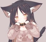 1girl absurdres animal_ear_fluff animal_ears bangs belt_collar black_collar black_hair blush brown_background brown_eyes brown_hair brown_sweater cat_ears cat_girl cat_tail closed_mouth collar commentary_request daidai_ookami eyebrows_visible_through_hair fangs fangs_out hands_up head_tilt highres long_sleeves multicolored_hair off-shoulder_sweater off_shoulder original parted_bangs print_sweater puffy_long_sleeves puffy_sleeves ribbed_sweater simple_background sleeves_past_wrists solo sweater tail tail_raised tears two-tone_hair upper_body v-shaped_eyebrows