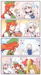 3girls 4koma beret blonde_hair blue_eyes blush braid china_dress chinese_clothes comic commentary commentary_request cooking dress flandre_scarlet frilled_shirt_collar frills from_behind green_hat hat hat_ribbon headdress highres holding holding_hat hong_meiling izayoi_sakuya jewelry kitsune_maru long_hair looking_at_viewer maid maid_headdress mob_cap multiple_girls necklace needle orange_eyes pink_shirt red_hair ribbon salt sewing sewing_kit sewing_needle shirt short_hair side_ponytail silver_hair star sweatdrop tangzhuang touhou translated twin_braids wrist_cuffs