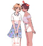 2girls arm_at_side artist_name bag bare_shoulders between_legs black_eyes blue_skirt blush bow brown_hair closed_mouth collared_shirt commentary dark_skin denise_(pfeffersteak) english_commentary floral_print from_side frown hair_bow hair_over_one_eye hand_between_legs heart heart_print holding holding_bag horizontal_stripes leaning_forward light_brown_hair lips lipstick looking_at_viewer makeup mole mole_under_mouth multiple_girls off-shoulder_shirt original parted_lips peter_pan_collar pleated_skirt red_bow red_lipstick shirt shopping_bag short_hair short_sleeves shorts skirt standing striped striped_shirt v_arms white_bag white_shirt white_shorts