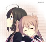 2girls ahoge brown_hair closed_eyes kantai_collection leaning_on_person multiple_girls murasame_(kantai_collection) shigure_(kantai_collection) sleeping tagme twintails twitter_username yukichi_(eikichi)