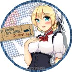 1girl ascot bangs black_dress blonde_hair blue_eyes braid brooch character_name circle_name commentary darjeeling dress english_text eyebrows_visible_through_hair formal girls_und_panzer hair_ribbon hand_on_own_chest hat highres jewelry kowaremashita looking_at_viewer mob_cap open_mouth puffy_short_sleeves puffy_sleeves red_neckwear ribbon shirt short_hair short_sleeves smile solo tied_hair upper_body white_headwear white_shirt