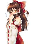 1girl black_scarf blush bow brown_hair covering_mouth detached_sleeves frilled_bow frills from_side hair_between_eyes hair_bow hakurei_reimu kirisita long_hair long_sleeves print_bow red_bow red_ribbon red_shirt red_skirt ribbon ribbon-trimmed_sleeves ribbon_trim scarf shiny shiny_hair shirt simple_background skirt sleeveless sleeveless_shirt solo standing touhou white_background white_sleeves wide_sleeves yellow_eyes