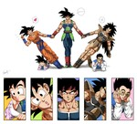 armor bardock black_boots black_eyes black_hair blue_boots boots brothers chin_rest chinese_clothes closed_eyes collarbone dougi dragon_ball dragon_ball_z family father_and_son glasses grandfather_and_grandson headband heart highres holding_hands kim_yura_(goddess_mechanic) long_hair lying muscle on_stomach raditz scar_on_cheek siblings signature smile son_gohan son_gokuu son_goten spiked_hair spoken_heart sweatdrop the_pose v vest