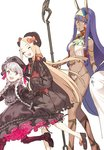 3girls :d ^_^ ^o^ abigail_williams_(fate/grand_order) bare_shoulders black_gloves blonde_hair braid breasts closed_eyes dark_skin doll_joints dress egyptian_clothes facial_mark fate/grand_order fate_(series) forehead_mark gloves hat headband jewelry lolita_fashion long_hair medjed multiple_girls navel nitocris_(fate/grand_order) nursery_rhyme_(fate/extra) open_mouth pako petticoat purple_eyes purple_hair silver_hair simple_background smile stuffed_toy teeth twin_braids white_background