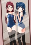 2girls ;) bangs bare_arms bare_shoulders black_legwear blue_hair blue_swimsuit blush breasts brown_hair cellphone closed_mouth collarbone competition_school_swimsuit deadnooodles eyebrows_visible_through_hair fingernails hair_bun highres holding holding_cellphone holding_phone indoors love_live! love_live!_sunshine!! medium_breasts mirror multiple_girls nose_blush one-piece_swimsuit one_eye_closed parted_lips phone purple_eyes red_hair reflection sakurauchi_riko side_bun smile standing sweat swimsuit taking_picture thighhighs tsushima_yoshiko