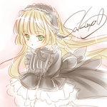 1girl :o amano_sakuya artist_name black_dress blonde_hair blush_stickers dress gosick gothic_lolita green_eyes hairband lolita_fashion lolita_hairband long_hair signature solo victorica_de_blois