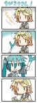 2girls 4koma aqua_hair chibi chibi_miku comic commentary hatsune_miku hungry kagamine_rin minami_(colorful_palette) multiple_girls spring_onion translated vocaloid |_|