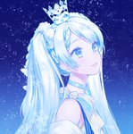 1girl blue_background blue_eyes choker crown earrings from_side hair_ornament hatsune_miku highres jewelry long_hair looking_up mini_crown parted_lips portrait ribbon silver_hair smile snowflakes snowing solo striped striped_ribbon sudach_koppe twintails very_long_hair vocaloid yuki_miku