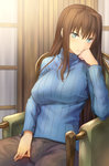 1girl aozaki_aoko blue_eyes breasts brown_hair chair chin_rest large_breasts long_hair mahou_tsukai_no_yoru pants ribbed_sweater serious shinon_(tokage_shuryou) sitting solo sweater turtleneck