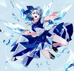 1girl ahoge bent_knees blue_background blue_dress blue_eyes blue_hair cirno commentary_request dress fang fingernails hair_between_eyes highres ice ice_wings ikurauni multicolored_footwear neck_ribbon open_mouth red_ribbon ribbon short_hair short_sleeves short_socks socks solo touhou v-shaped_eyebrows white_bloomers white_legwear wings