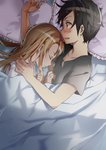 1boy 1girl abec asuna_(sao) bed_sheet black_hair black_shirt blush brown_hair closed_eyes collarbone colored couple embarrassed frilled_pillow frills from_above kirito long_hair lying novel_illustration official_art on_side open_mouth pillow poi_himeya shirt sleeping sword_art_online under_covers upper_body