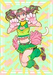 1girl :d animal_ear_fluff animal_ears belt black_footwear brown_hair cat_ears cat_girl cat_paws cat_tail cheerleader claw_pose clothes_writing commentary_request crop_top fang frills full_body green_background green_legwear green_skirt hands_up jumping leg_warmers long_hair looking_at_viewer manga_de_chokkan_rikai!_marketing_data midriff miniskirt navel nobile1031 open_mouth original paws pleated_skirt pom_poms shoes skirt sleeveless smile sneakers solo tail twintails