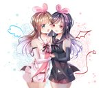2girls ;d a.i._channel bare_shoulders black_bow black_hair black_shirt blue_eyes blue_sailor_collar blue_shorts blush bow breasts brown_hair cheek-to-cheek commentary_request cowboy_shot dark_persona demon_tail demon_wings detached_sleeves drawn_tail drawn_wings dress flower hair_ribbon hairband holding_hands interlocked_fingers kizuna_ai long_hair long_sleeves mini_wings miyo_(user_zdsp7735) multiple_girls navel one_eye_closed open_mouth parted_lips pink_hairband pink_ribbon red_eyes ribbon rose sailor_collar shirt short_shorts shorts siblings sleeveless sleeveless_dress sleeves_past_wrists small_breasts smile striped striped_bow tail twins very_long_hair virtual_youtuber white_background white_sailor_collar white_shirt wings yuri