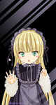 1girl against_glass amano_sakuya artist_name bangs black_background blonde_hair blunt_bangs blush_stickers dress fang frills glass gosick gothic_lolita green_eyes hairband highres lolita_fashion long_hair long_sleeves open_mouth ribbon solo standing tsurime very_long_hair victorica_de_blois