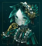 absurdres alternate_costume androgynous commentary crack frills golden_arms gothic_lolita green_eyes green_hair hairband highres houseki_no_kuni lolita_fashion lolita_hairband phosphophyllite short_hair solo spoilers tears upper_body