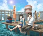 5girls 6+boys barefoot black_hair blonde_hair blue_sky blurry boat brown_hair casual cloud commentary_request day depth_of_field dress ellone everyone final_fantasy final_fantasy_viii fishing fishing_rod fuujin_(ff8) habbitrot highres irvine_kinneas jacket jacket_removed jewelry laguna_loire lens_flare multicolored_hair multiple_boys multiple_girls necklace pier quistis_trepe raijin_(ff8) rinoa_heartilly seifer_almasy selphie_tilmitt shorts shorts_under_skirt skirt sky sleeveless smile soaking_feet squall_leonhart sun sundress two-tone_hair water water_tower watercraft zell_dincht