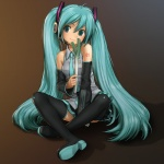 1girl aqua_eyes aqua_hair aqua_nails breasts closed_mouth detached_sleeves hatsune_miku headphones headset long_hair nail_polish necktie rustle sitting skirt small_breasts smile solo spring_onion thighhighs twintails very_long_hair vocaloid zettai_ryouiki