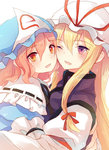 2girls blonde_hair cheek-to-cheek commentary eyebrows_visible_through_hair frills hair_ribbon hat hug lilith_(lilithchan) long_hair medium_hair mob_cap multiple_girls one_eye_closed pink_hair purple_eyes red_eyes red_ribbon ribbon saigyouji_yuyuko tabard touhou yakumo_yukari
