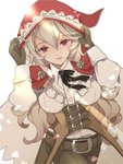 1girl belt breasts brown_gloves closed_mouth commentary_request cosplay female_my_unit_(fire_emblem_if) fire_emblem fire_emblem_if gloves hands_on_headwear highres hood hood_up long_hair long_sleeves mamkute medium_breasts my_unit_(fire_emblem_if) petals pointy_ears red_eyes renkonmatsuri simple_background smile solo velour_(fire_emblem_if) velour_(fire_emblem_if)_(cosplay) white_background white_hair