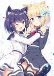 2girls :o ;d animal_ear_fluff animal_ears argyle argyle_background belt belt_buckle black_legwear black_shirt black_skirt blonde_hair blue_bow blue_eyes blue_hair blue_nails blue_neckwear blush bow buckle collared_shirt commentary_request cowboy_shot epaulettes eyebrows_visible_through_hair hair_bow hair_ornament hairclip heart highres holding_hands interlocked_fingers long_sleeves looking_at_viewer multiple_girls nail_polish neck_ribbon one_eye_closed open_mouth parted_lips pleated_skirt red_neckwear ribbon rukiroki sasugano_roki sasugano_ruki shiny shiny_hair shirt short_hair sidelocks simple_background skirt smile thighhighs tomoo_(tomo) v virtual_youtuber w white_shirt white_skirt yellow_nails zettai_ryouiki