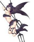1girl ass bare_shoulders black_footwear black_gloves black_panties black_skirt black_wings boots breasts commentary crop_top demon_girl demon_wings dual_wielding flying from_side full_body gabriel_dropout gloves hair_ornament half_updo hallelujah_essaim high_heel_boots high_heels highres holding holding_polearm horns knee_boots large_breasts legs_up looking_at_viewer looking_back medium_hair panties parted_lips pleated_skirt polearm purple_eyes purple_hair saruno_(eyesonly712) simple_background skindentation skirt smile smirk solo trident tsukinose_vignette_april underboob underwear upskirt weapon white_background wings x_hair_ornament