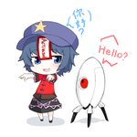 1girl absurdres beret blue_eyes blue_hair chibi commentary_request crossover english full_body hands_up hat highres jakomurashi looking_at_another miyako_yoshika ofuda open_mouth outstretched_arms pale_skin portal shirt short_sleeves simple_background skirt smile standing star touhou turret_(portal) white_background zombie_pose