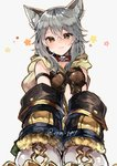 1girl :3 animal_ear_fluff animal_ears armband bangs belt_collar blush cat_ears claw_(weapon) claws collar commentary_request detached_sleeves erune granblue_fantasy grey_hair hair_between_eyes head_tilt highres hood hood_down ikeuchi_tanuma long_sleeves looking_at_viewer red_collar sen_(granblue_fantasy) simple_background smile solo twitter_username upper_body weapon white_background wide_sleeves yellow_eyes