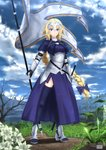 1girl absurdres armor bare_tree blonde_hair blue_bow blue_sky bow chain cloud dirt_road expressionless fate/apocrypha fate_(series) fleur_de_lis flower flower_request grass headphones highres jeanne_d'arc_(fate) jeanne_d'arc_(fate)_(all) long_braid purple_eyes ruins satyarizqy sky solo standard_bearer sword thighhighs thighs tree weapon