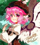 1girl :d animal_ears arm_garter brown_hat earrings feathered_wings fingernails frilled_sleeves frills from_side hat jewelry long_fingernails long_sleeves mystia_lorelei open_mouth pink_eyes pink_hair puffy_long_sleeves puffy_sleeves qqqrinkappp shikishi short_hair signature smile solo touhou traditional_media white_wings wide_sleeves winged_hat wings
