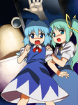2girls bad_id bad_pixiv_id blue_eyes blue_hair cirno daiyousei green_hair long_hair multiple_girls open_mouth pyonta scared short_hair side_ponytail tonbi touhou window
