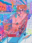 1girl :x adjusting_eyewear bag_of_chips bandaid bandaid_on_knee bangs bare_shoulders blue_eyes bottle box brand_name_imitation brown_hair colorful crossed_ankles earrings flat_color food full_body heart heart-shaped_eyewear heart_earrings highres in_container indoors jewelry looking_at_viewer looking_over_eyewear makeup mascara nail_polish najuco_(naju0517) orange_legwear original pink-framed_eyewear pursed_lips rice_krispies rubber_chicken rubber_duck shoes shopping_cart sitting sleeveless sneakers socks soda_bottle solo spaghetti_strap stuffed_toy sunglasses supermarket tile_floor tiles twintails wristband yellow_nails