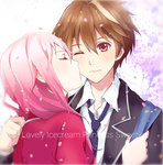 1boy 1girl black_jacket black_necktie brown_hair cheek_kiss cherry_blossoms closed_eyes couple guilty_crown hair_between_eyes highres jacket kiss long_hair necktie one_eye_closed open_clothes open_jacket ouma_shuu pink_hair red_eyes red_shirt shirt upper_body white_shirt yukilus yuzuriha_inori